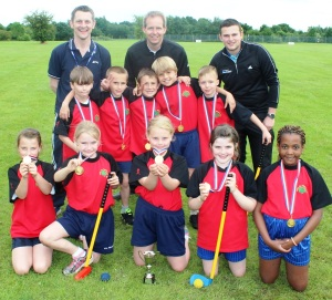 TOP CLASS: St Stephen's School pupils with PE co-ordinator Paul Puckey, left, Gareth Benson, centre, and Aaron Williams