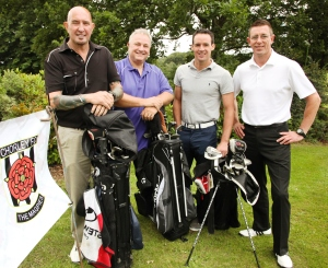 TEE-TIME: Matt Jansen, third from left, with his Cherry Tree Blackrod team-mates Paul Taylor, Eddie Renshaw and Warren Newton. Photo: Josh Vosper