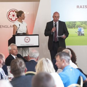 Di Dougherty listens as England Golf Chief Executive David Joy introduces the new strategy (image © Leaderboard Photography)
