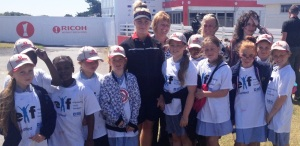 STAR TURN: Charley Hull takes a break from pre-tournament interviews to meet the girls