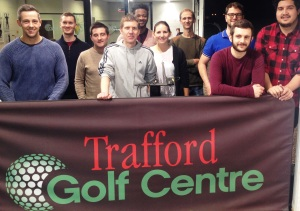Staff from the BBC's team at MediaCityUK enjoying their Get into golf taster session with PGA professionals from The Peel Group's Trafford Golf Centre