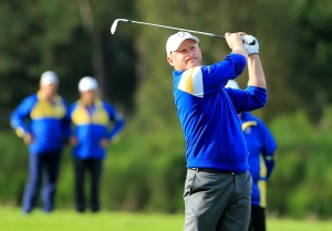 CUP WINNER: Jamie Donaldson hits his magical shot