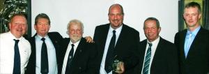 PRIZE GUYS: Lee Park celebrate their award at Hotel du Vin in Harrogate. From the left, Mark Ferguson, from STRI, and club representatives Peter Rastall, Steve Settle, Alan Pennington, Trevor Clark and Mark Dineley