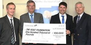 CHEQUE MATES: From left, Golf Foundation chief executive Brandon Pyle, PGA captain Neil Selwyn-Smith, Padraig Harrington and Golf Foundation chairman Charles Harrison. Photo: Tom Dulat/Getty Images