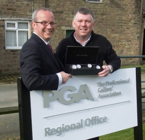 TIME PLEASE! Gary Butler, right, shows a selection of his watches to PGA North secretary Graham Maly